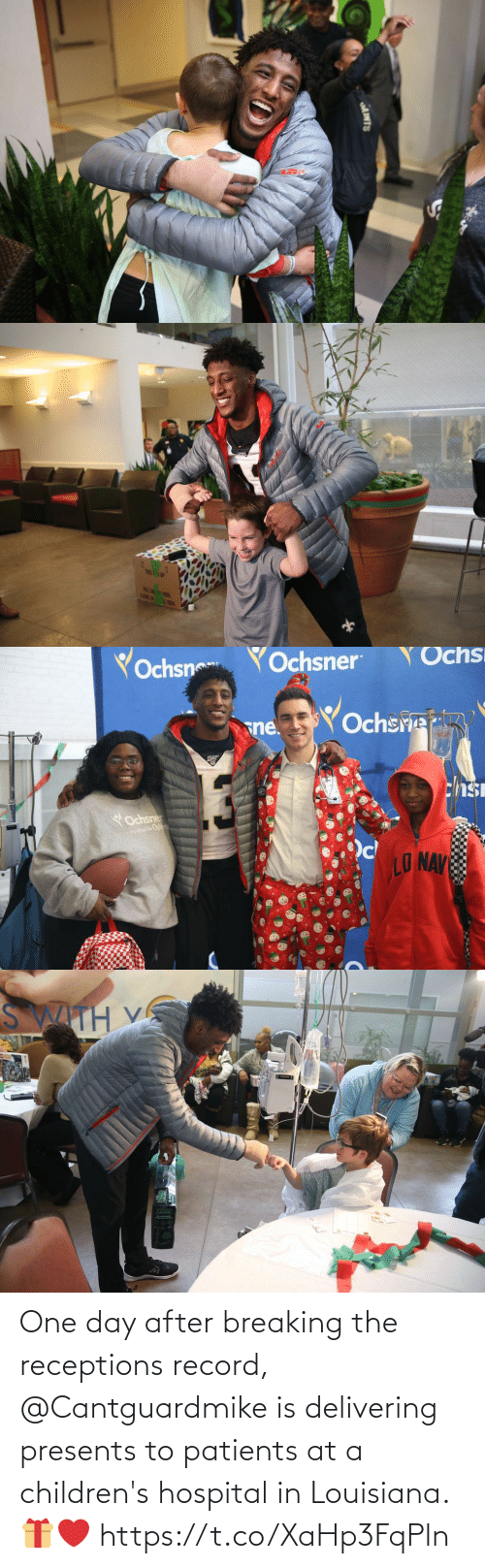 one day: AINTS   TRIS! 1P  FRLE CA T  LENE LA   Yochsn  YOchsner  Ochs  Ochsre  sne.  chsi  YOchsner  Hospai For Childwan  LO NAV   SWITH V One day after breaking the receptions record, @Cantguardmike is delivering presents to patients at a children's hospital in Louisiana. 🎁❤️ https://t.co/XaHp3FqPln