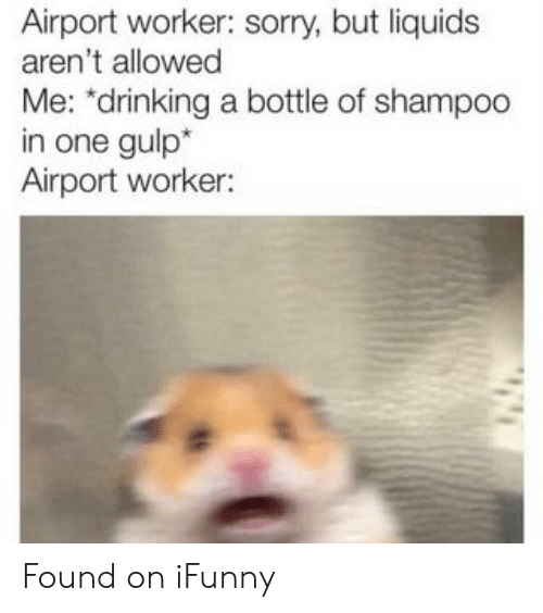 "Drinking, Sorry, and One: Airport worker: sorry, but liquids  aren't allowed  Me: ""drinking a bottle of shampoo  in one gulp*  Airport worker: Found on iFunny"