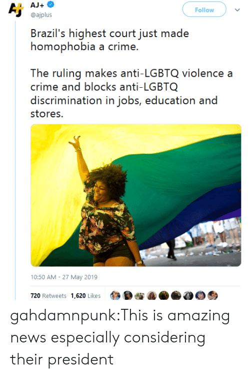 Crime, News, and Target: AJ+  Aj  Follow  @ajplus  Brazil's highest court just made  homophobia a crime.  The ruling makes anti-LGBTQ violence a  crime and blocks anti-LGBTQ  discrimination in jobs, education and  stores.  10:50 AM 27 May 2019  720 Retweets 1,620 Likes gahdamnpunk:This is amazing news especially considering their president