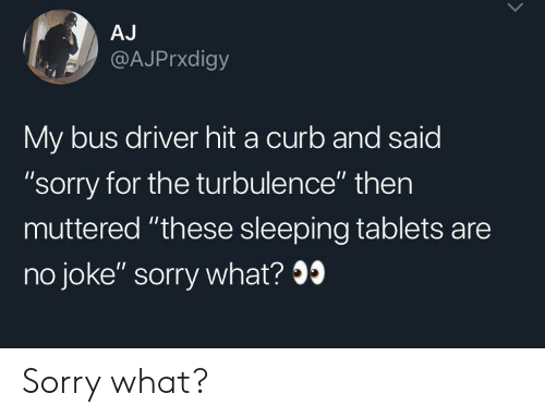 "Sorry, Tablets, and Sleeping: AJ  @AJPrxdigy  My bus driver hit a curb and said  ""sorry for the turbulence"" then  muttered ""these sleeping tablets are  no joke"" sorry what? Sorry what?"