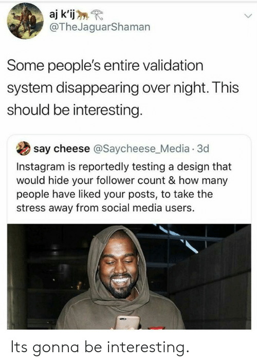 follower: aj k'ijR  @TheJaguarShaman  Some people's entire validation  system disappearing over night. This  should be interesting  say cheese @Saycheese Media.3d  Instagram is reportedly testing a design that  would hide your follower count & how many  people have liked your posts, to take the  stress away from social media users. Its gonna be interesting.