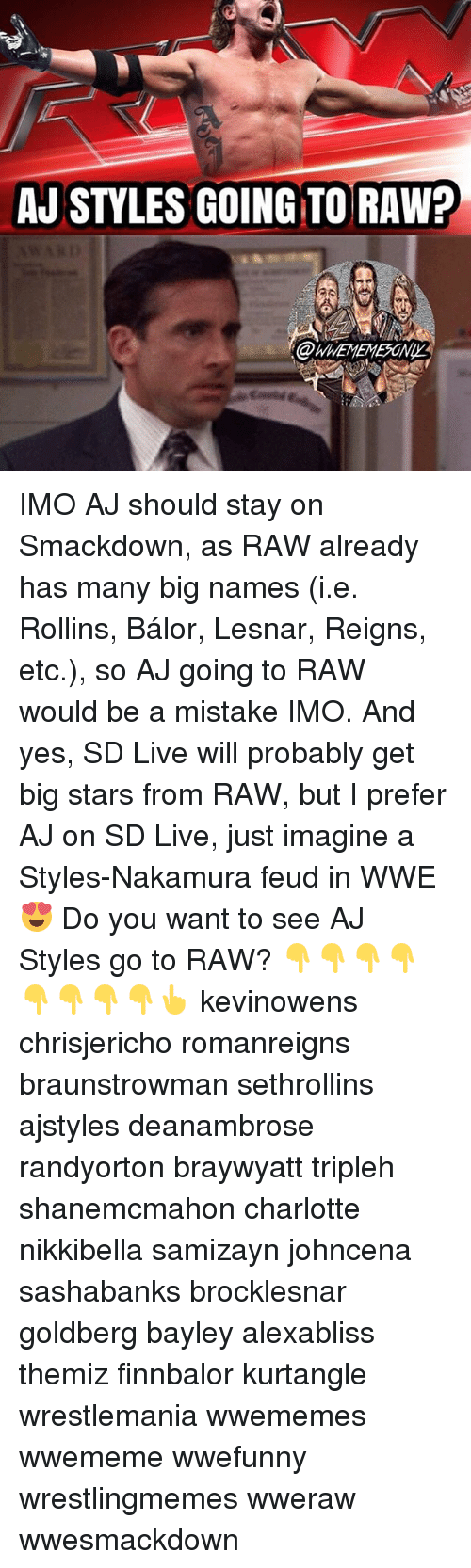 rollins: AJ STYLES GOING TO RAW? IMO AJ should stay on Smackdown, as RAW already has many big names (i.e. Rollins, Bálor, Lesnar, Reigns, etc.), so AJ going to RAW would be a mistake IMO. And yes, SD Live will probably get big stars from RAW, but I prefer AJ on SD Live, just imagine a Styles-Nakamura feud in WWE 😍 Do you want to see AJ Styles go to RAW? 👇👇👇👇👇👇👇👇👆 kevinowens chrisjericho romanreigns braunstrowman sethrollins ajstyles deanambrose randyorton braywyatt tripleh shanemcmahon charlotte nikkibella samizayn johncena sashabanks brocklesnar goldberg bayley alexabliss themiz finnbalor kurtangle wrestlemania wwememes wwememe wwefunny wrestlingmemes wweraw wwesmackdown