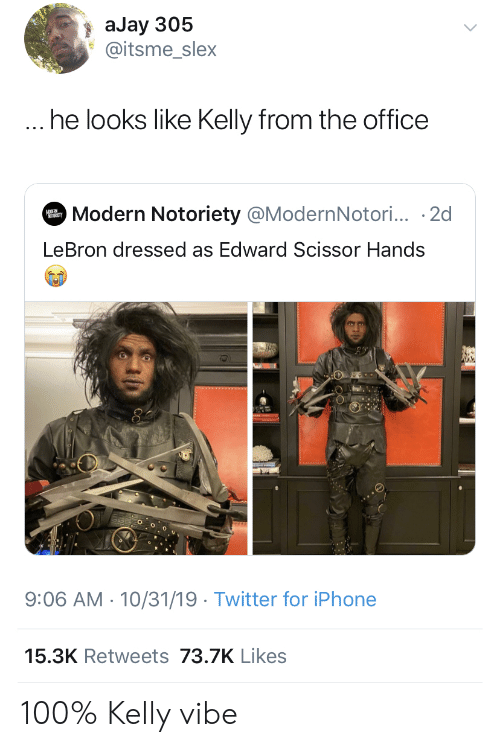The Office: aJay 305  @itsme_slex  ... he looks like Kelly from the office  Modern Notoriety @ModernNotori... 2d  MODER  LeBron dressed as Edward Scissor Hands  9:06 AM 10/31/19 Twitter for iPhone  15.3K Retweets 73.7K Likes 100% Kelly vibe