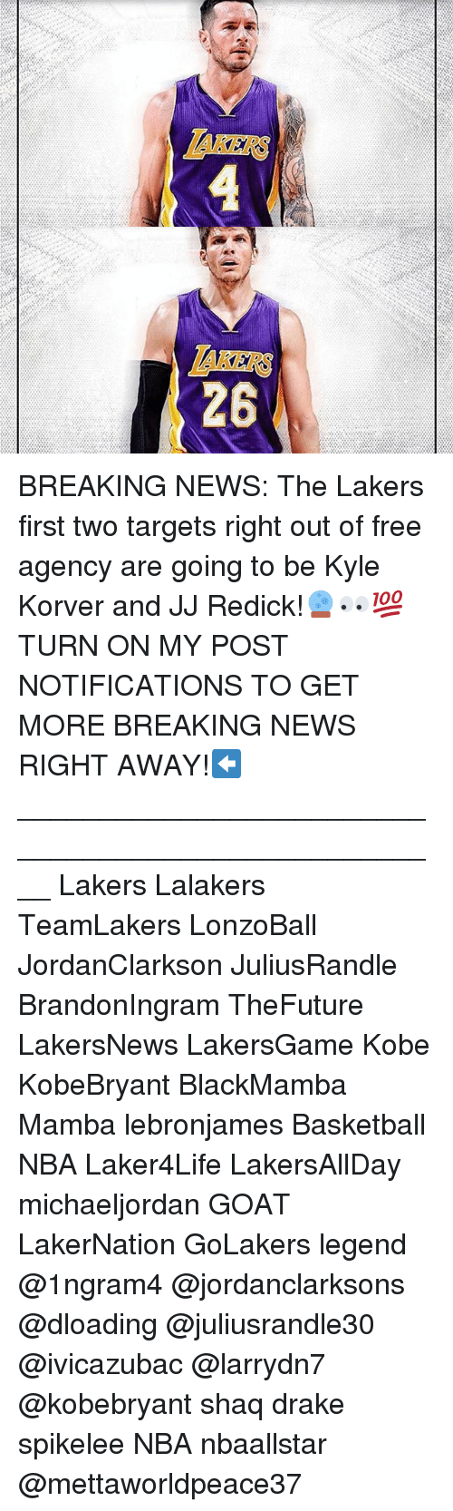 Basketball, Drake, and J.J. Redick: AKERS  26 BREAKING NEWS: The Lakers first two targets right out of free agency are going to be Kyle Korver and JJ Redick!🔮👀💯 TURN ON MY POST NOTIFICATIONS TO GET MORE BREAKING NEWS RIGHT AWAY!⬅️ ____________________________________________________ Lakers Lalakers TeamLakers LonzoBall JordanClarkson JuliusRandle BrandonIngram TheFuture LakersNews LakersGame Kobe KobeBryant BlackMamba Mamba lebronjames Basketball NBA Laker4Life LakersAllDay michaeljordan GOAT LakerNation GoLakers legend @1ngram4 @jordanclarksons @dloading @juliusrandle30 @ivicazubac @larrydn7 @kobebryant shaq drake spikelee NBA nbaallstar @mettaworldpeace37