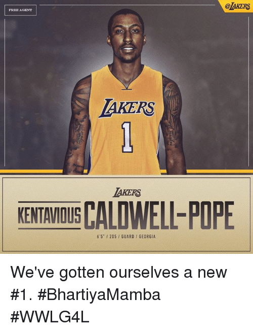 poped: @AKERS  FREE AGENT  AKERS  AKERS  KENTAVIOUS CALD  KENTAMOIS CALDWELL-POPE  6'5-1 205 , GUARD / GEORGIA We've gotten ourselves a new #1.  #BhartiyaMamba #WWLG4L