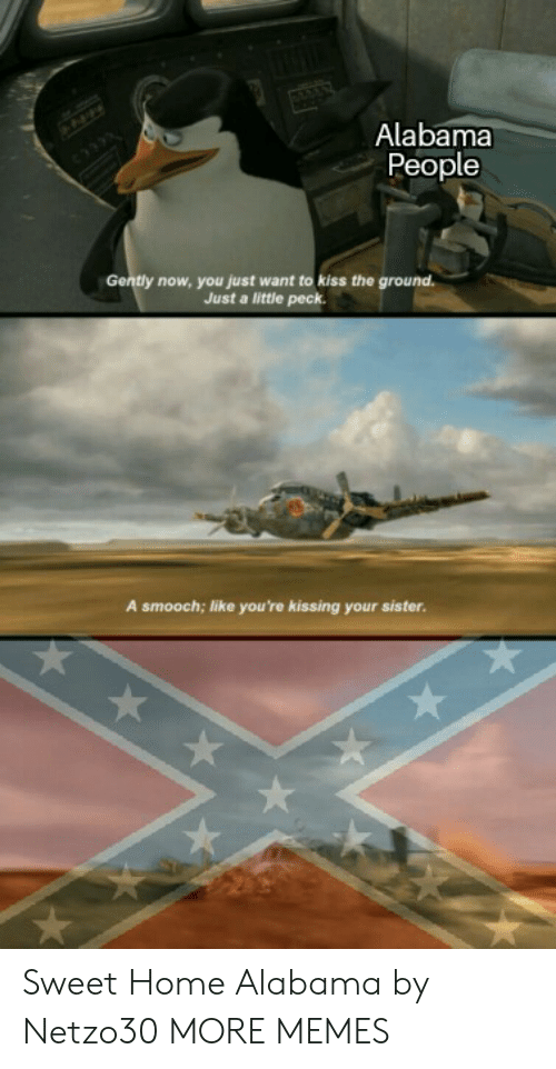 sweet home alabama: Alabama  People  Gently now, you just want to kiss the ground.  Just a little peck.  A smooch; like you're kissing your sister. Sweet Home Alabama by Netzo30 MORE MEMES