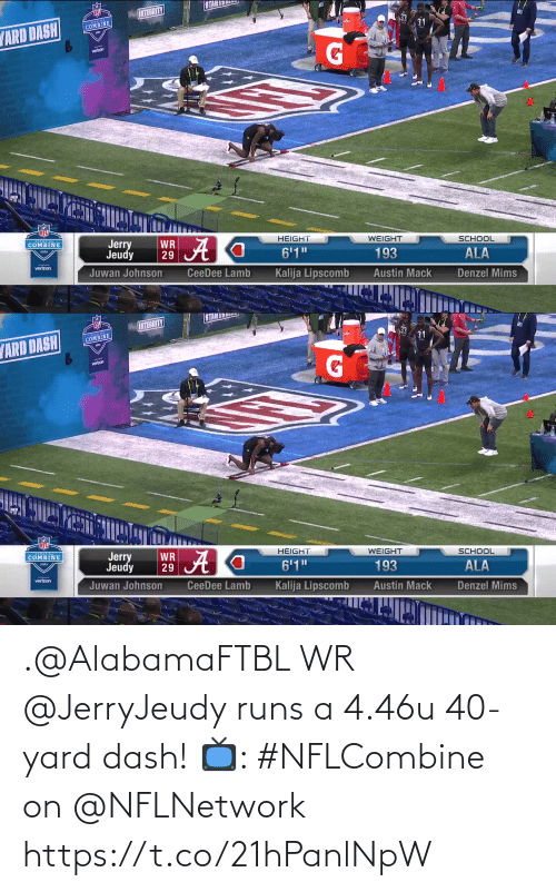 dash: .@AlabamaFTBL WR @JerryJeudy runs a 4.46u 40-yard dash!   📺: #NFLCombine on @NFLNetwork https://t.co/21hPanlNpW
