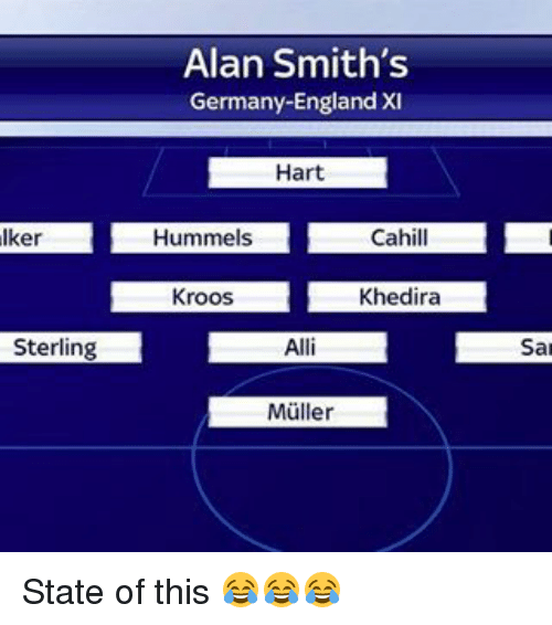 Mullered: Alan Smith's  Germany-England XI  Hart  Aker  LHummels Cahill  L  Kroos  Khedira  Sterling  San  Muller State of this 😂😂😂
