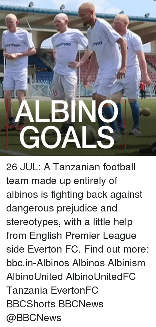 tanzania: ALBINO  GOALS 26 JUL: A Tanzanian football team made up entirely of albinos is fighting back against dangerous prejudice and stereotypes, with a little help from English Premier League side Everton FC. Find out more: bbc.in-Albinos Albinos Albinism AlbinoUnited AlbinoUnitedFC Tanzania EvertonFC BBCShorts BBCNews @BBCNews