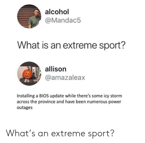 bios: alcohol  @Mandac5  What is an extreme sport?  allison  @amazaleax  Installing a BIOS update while there's some icy storm  across the province and have been numerous power  outages What's an extreme sport?