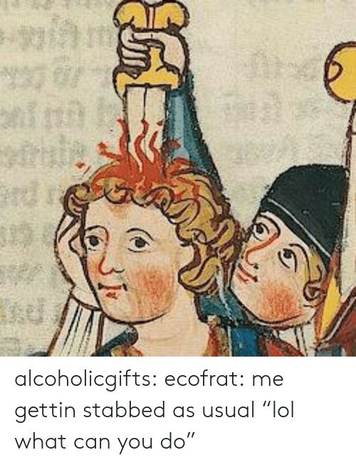 """Gettin: alcoholicgifts: ecofrat:  me gettin stabbed as usual  """"lol what can you do"""""""