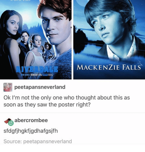 mackenzie falls: ALE MACKENZIE FALLS  NEW SERIES  peetapansneverland  Ok I'm not the only one who thought about this as  soon as they saw the poster right?  albercrombee  sfdgfjhgkfigdhafgsjfh  Source: peetapansneverland
