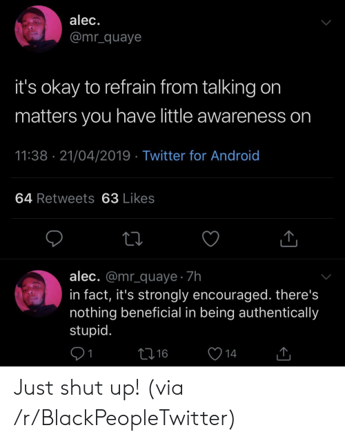 encouraged: alec.  @mr_quaye  it's okay to refrain from talking on  matters you have little awareness on  11:38 21/04/2019 Twitter for Android  64 Retweets 63 Likes  alec. @mr_quaye 7h  in fact, it's strongly encouraged. there's  nothing beneficial in being authentically  stupid.  L16  14 Just shut up! (via /r/BlackPeopleTwitter)