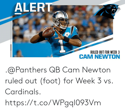 Cardinals: ALERT  THO  SEASON  RULED OUT FOR WEEK 3 .@Panthers QB Cam Newton ruled out (foot) for Week 3 vs. Cardinals. https://t.co/WPgql093Vm