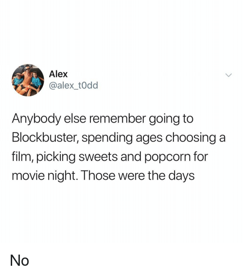 Blockbuster, Memes, and Movie: Alex  @alex_t0dd  Anybody else remember going to  Blockbuster, spending ages choosing a  film, picking sweets and popcorn for  movie night. Those were the days No