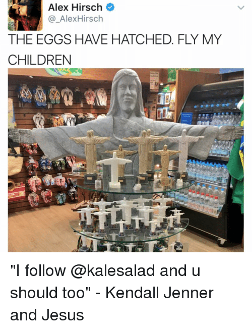 "Memes, Alex Hirsch, and 🤖: Alex Hirsch  Alex Hirsch  THE EGGS HAVE HATCHED. FLY MY  CHILDREN ""I follow @kalesalad and u should too"" - Kendall Jenner and Jesus"