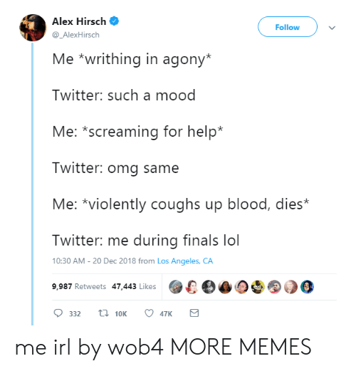 Dank, Finals, and Lol: Alex Hirsch  Follow  @_AlexHirsch  Me *writhing in agony*  Twitter: such a mood  Me: *screaming for help*  Twitter: omg same  Me: *violently coughs up blood, dies*  Twitter: me during finals lol  10:30 AM -20 Dec 2018 from Los Angeles, CA  9,987 Retweets 47.443 Likes00 me irl by wob4 MORE MEMES