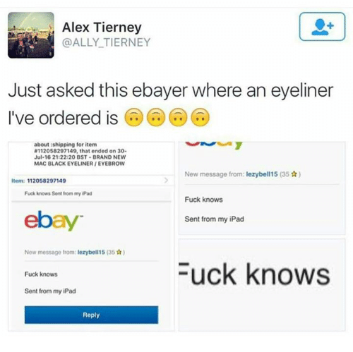 Dank, 🤖, and Mac: Alex Tierney  ALLY TIERNEY  Just asked this ebayer where an eyeliner  I've ordered is  about shipping for item  N112058297149, that ended on 30.  Jul-16 21:22:20 BST BRAND NEW  MAC BLACKEYELINERIEYEBROW  New message from: lezybell15 (35 Ar)  Item: 112058297149  Fuck knows Sent from my iPad  Fuck knows  ebay  Sent from my iPad  New message from: lezybell15 (35 Tr)  Fuck knows  Fuck knows  Sent from my iPad  Reply