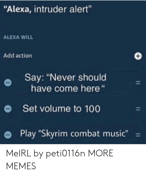 "Combat: ""Alexa, intruder alert""  ALEXA WILL  Add action  Say: ""Never should  have come here ""  Set volume to 100  Play ""Skyrim combat music"" = MeIRL by peti0116n MORE MEMES"