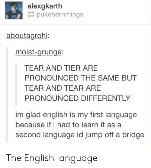 English, Moist, and Language: alexgkarth  pukehernmings  aboutagrohl:  moist-grunge:  TEAR AND TIER ARE  PRONOUNCED THE SAME BUT  TEAR AND TEAR ARE  PRONOUNCED DIFFERENTLY  im glad english is my first language  because if i had to learn it as a  second language id jump off a bridge The English language