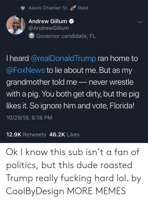 Foxnews: Alexis Ohanian Sr. liked  Andrew Gillum<  @AndrewGillum  Governor candidate, FL  I heard @realDonaldTrump ran home to  @FoxNews to lie about me. But as my  grandmother told me-never wrestle  with a pig. You both get dirty, but the pig  likes it. So ignore him and vote, Florida!  10/29/18, 8:18 PM  12.9K Retweets 46.2K Likes Ok I know this sub isn't a fan of politics, but this dude roasted Trump really fucking hard lol. by CoolByDesign MORE MEMES