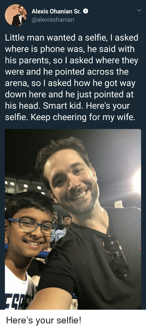 Head, Parents, and Phone: Alexis Ohanian St.  @alexisohanian  Little man wanted a selfie, I asked  where is phone was, he said with  his parents, so I asked where they  were and he pointed across the  arena, so l asked how he got way  down here and he just pointed at  his head. Smart kid. Here's your  selfie. Keep cheering for my wife. <p>Here's your selfie!</p>