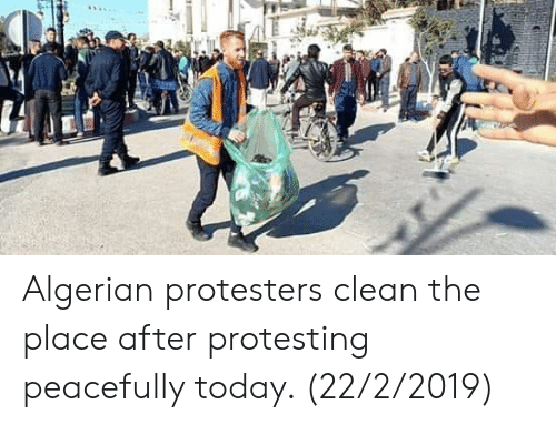 Algerian Protesters Clean the Place After Protesting Peacefully