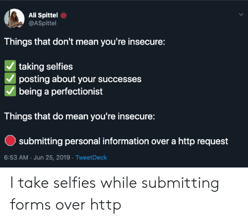 Ali, Http, and Information: Ali Spittel  @ASpittel  Things that don't mean you're insecure:  | taking selfies  posting about your successes  being a perfectionist  Things that do mean you're insecure:  submitting personal information over a http request  6:53 AM Jun 25, 2019 TweetDeck I take selfies while submitting forms over http