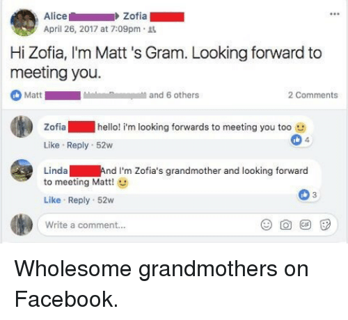 Facebook, Hello, and Wholesome: Alice  April 26, 2017 at 7:09pm.  Zofia  Hi Zofia, I'm Matt 's Gram. Looking forward to  meeting you.  Matt  and 6 others  2 Comments  Zofia hello! i'm looking forwards to meeting you too e  Like Reply 52w  Linda And I'm Zofia's grandmother and looking forward  4  to meeting Matt!  Like Reply 52w  Write a comment... <p>Wholesome grandmothers on Facebook.</p>