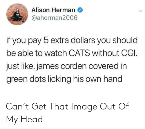 dollars: Alison Herman  MED  @aherman2006  if you pay 5 extra dollars you should  be able to watch CATS without CGI.  just like, james corden covered in  green dots licking his own hand Can't Get That Image Out Of My Head
