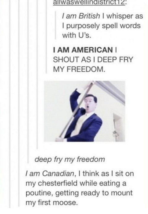 American, British, and Canadian: aliwaswellindistrict12:  I am British I whisper as  I purposely spell words  with U's.  I AM AMERICAN  SHOUT AS I DEEP FRY  MY FREEDOM  deep fry my freedom  I am Canadian, I think as I sit on  my chesterfield while eating a  poutine, getting ready to mount  my first moose.