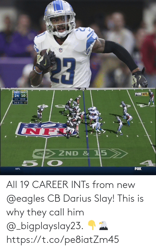 Call Him: All 19 CAREER INTs from new @eagles CB Darius Slay!   This is why they call him @_bigplayslay23. 👇🦅 https://t.co/pe8iatZm45