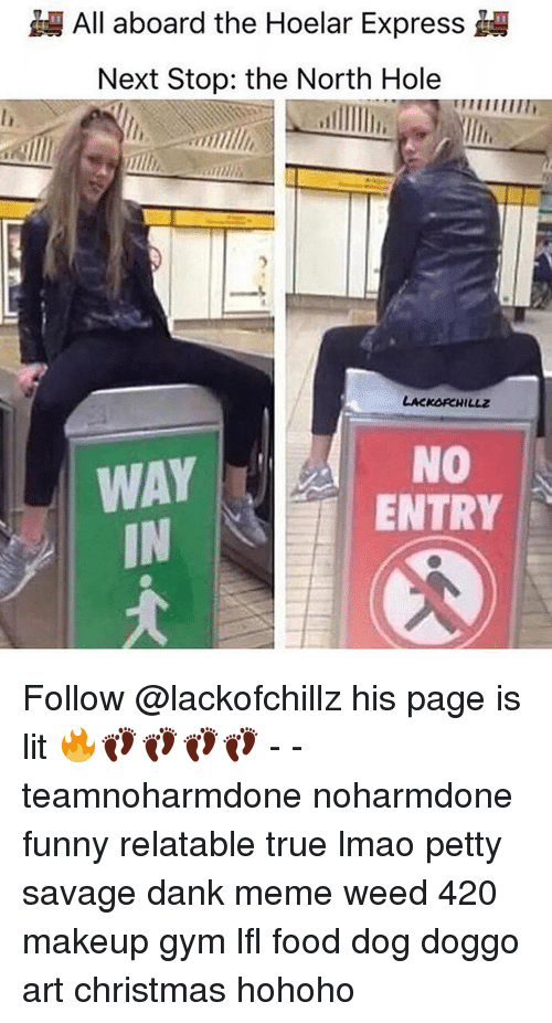 Gym, Makeup, and Memes: All aboard the Hoelar Express  Next Stop: the North Hole  LACKORCHILLz  NO  WAY  ENTRY Follow @lackofchillz his page is lit 🔥👣👣👣👣 - - teamnoharmdone noharmdone funny relatable true lmao petty savage dank meme weed 420 makeup gym lfl food dog doggo art christmas hohoho