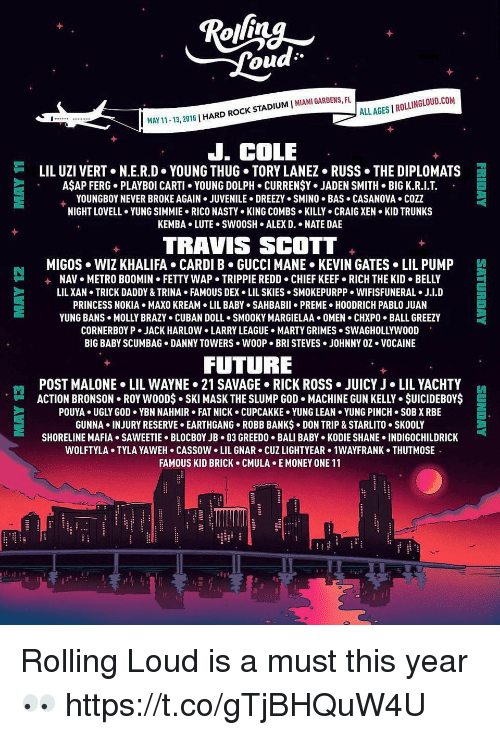 Trunks: ALL AGES I ROLLINGLOUD.COM  1-13, 2018 | HARD ROCK STADIUM I MIAMI GARDENS, FU  J. COLE  岿  LIL UZI VERT+ N.ER.D-YOUNG THUG-TORY LANEZ-RUSS·THE DIPLOMATS  AŞAP FERG. PLAYBOI CARTI YOUNG DOLPH. CURRENŞY. JADEN SMITH BIG K.R.I.T  YOUNGBOY NEVER BROKE AGAIN . JUVENILE . DREEZY . SMINO . BAS . CASANOVA . COZZ  NIGHT LOVELL YUNG SIMMIE. RICO NASTY KING COMBS KILLY CRAIG XEN KID TRUNKS  KEMBA.LUTE. SW0OSH ALEX D. . NATE DAE  TRAVIS SCOTT  MIGOS WIZ KHALIFA CARDI B GUCCI MANE KEVIN GATES LIL PUMP  +  NAV  METRO BOOMIN  FETTY WAP-TRIPPIE REDD-CHIEF KEEF-RICH THE KID . BELLY  LIL XAN TRICK DADDY & TRINA FAMOUS DEX LIL SKIES SMOKEPURPP. WIFISFUNERAL J.I.D  PRINCESS NOKIA MAXO KREAM LIL ABY SAHBABII PREME HOODRICH PABLO JUAN  YUNG BANS . MOLLY BRAZY . CUBAN DOLL . SMOOKY MARGIELAA+ OMEN . CHXPO-BALL GREEZY  CORNERBOY P . JACK HARLOW LARRY LEAGUE-HARTY GRIMES . SWAGHOLLYWOOD  BIG BABY SCUMBAG DANNY TOWERS WOOP. BRI STEVES JOHNNY OZ VOCAINE  FUTURE  POST MALONE . LIL WAYNE> 21 SAVAGE-RICK ROSS . JUICY J·LIL YACHTY  ACTION BRONSON . ROY w0ODs-SKI MASK THE SLUMP GOD . MACHINE GUN KELLY . $UICIDEBOY$  POUYA UGLY GOD YBN NAHMIR FAT NICK CUPCAKKE YUNG LEAN YUNG PINCH SOB X RBE  GUNNA . INJURY RESERVE . EARTHGANG-ROBB BANKs-DON TRIP & STARLITO-SKOOLY  SHORELINE MAFIA+ SAWEETIE-BLOCBOYJB-03 GREEDO . BALI BABY-KODIE SHANE-INDIGOCHILDRICK  WOLFTYLA+ TYLA YAWEH-CASSOW-LIL GNAR . CUZ LIGHTYEAR> 1WAYFRANK . THUTMOS  FAMOUS KID BRICK CMULA E MONEY ONE 11  門  E Rolling Loud is a must this year 👀 https://t.co/gTjBHQuW4U