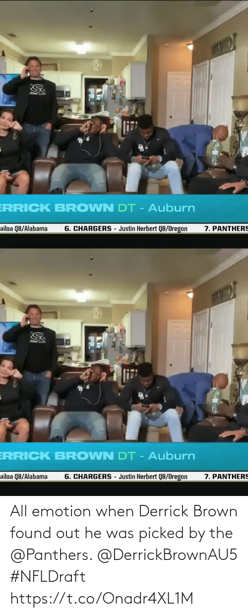 brown: All emotion when Derrick Brown found out he was picked by the @Panthers. @DerrickBrownAU5 #NFLDraft https://t.co/Onadr4XL1M