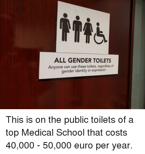 School, Euro, and Gender: ALL GENDER TOILETS  Anyone can use these toilets, regardless of  gender identity or expression