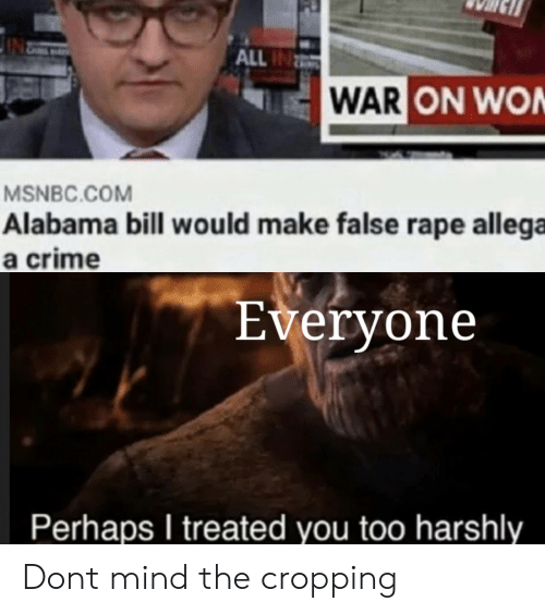Alabama: ALL IN  WAR ON WON  MSNBC.COM  Alabama bill wou ld make false rape allega  a crime  Everyone  Perhaps I treated you too harshly Dont mind the cropping
