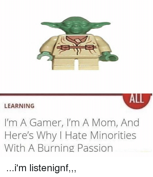 Mom, Gamer, and Passion: ALL  LEARNING  I'm A Gamer, I'm A Mom, And  Here's Why I Hate Minorities  With A Burning Passion ...i'm listenignf,,,