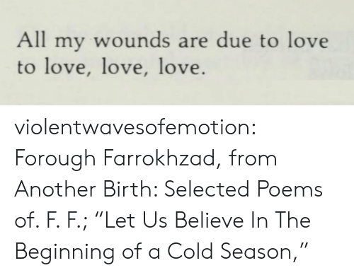"A Cold: All my wounds are due to love  to love, love, love. violentwavesofemotion:  Forough Farrokhzad, from Another Birth: Selected Poems of. F. F.; ""Let Us Believe In The Beginning of a Cold Season,"""