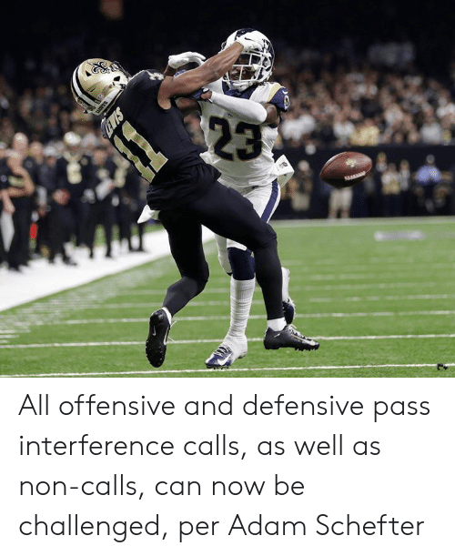 Can, Adam, and All: All offensive and defensive pass interference calls, as well as non-calls, can now be challenged, per Adam Schefter