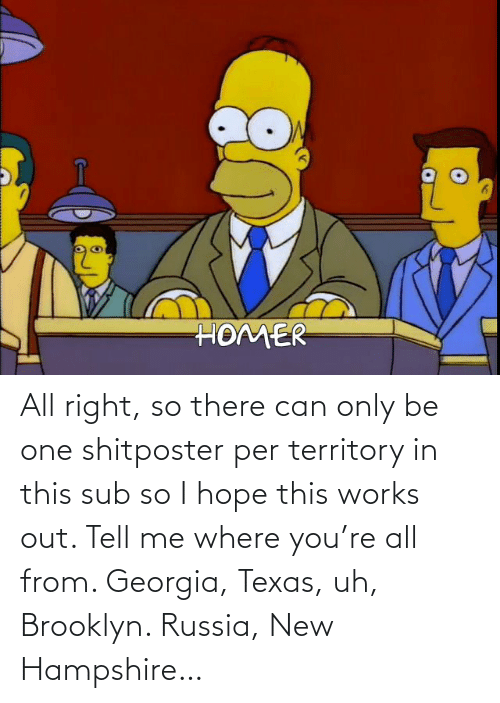 Georgia: All right, so there can only be one shitposter per territory in this sub so I hope this works out. Tell me where you're all from. Georgia, Texas, uh, Brooklyn. Russia, New Hampshire…
