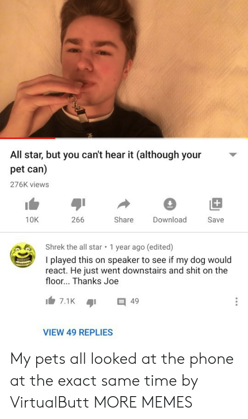 All Star: All star, but you can't hear it (although your  pet can)  276K views  +  266  Share  10K  Download  Save  Shrek the all star  1 year ago (edited)  I played this on speaker to see if my dog would  react. He just went downstairs and shit on the  floor... Thanks Joe  7.1K  49  VIEW 49 REPLIES My pets all looked at the phone at the exact same time by VirtualButt MORE MEMES