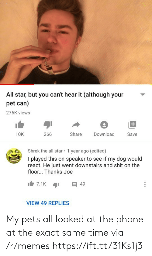 All Star: All star, but you can't hear it (although your  pet can)  276K views  +  266  Share  10K  Download  Save  Shrek the all star  1 year ago (edited)  I played this on speaker to see if my dog would  react. He just went downstairs and shit on the  floor... Thanks Joe  7.1K  49  VIEW 49 REPLIES My pets all looked at the phone at the exact same time via /r/memes https://ift.tt/31Ks1j3