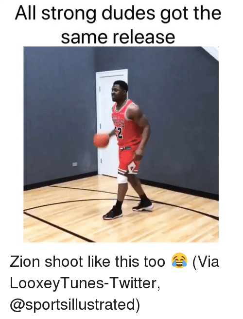 Basketball, Nba, and Sports: All strong dudes got the  same release Zion shoot like this too 😂 (Via LooxeyTunes-Twitter, @sportsillustrated)