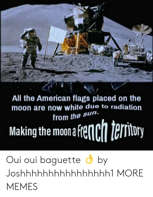 Dank, Memes, and Target: All the American flags placed on the  moon are now white due to radiation  rom the sun.  Makingthe mona fenchteriory Oui oui baguette 👌 by Joshhhhhhhhhhhhhhhh1 MORE MEMES