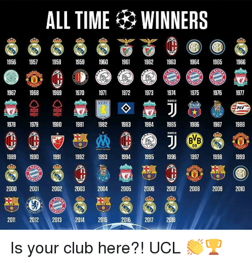 Club, Memes, and Time: ALL TIME WINNERS  1956 19571958 1959 1960 1962 63 41965 1966  967 1968 969 1970 97 97 19739719751976 1977  AVFC  TEAUA  PSV  19781979 1980 19811982 1983 984 1985 198619871988  09  899  1989 1990 1991 1992 199 94 95 1996 97 1998 1999  2000 2001 2002 2003 2004 2005 2006 2007 2008 2009 2010  2011 2012 2013 2014 2015 2016 2017 2018 Is your club here?! UCL 👏🏆