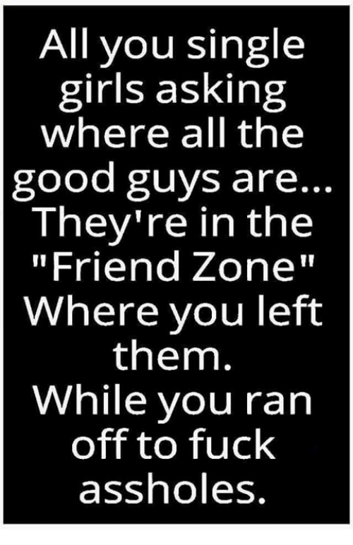 "Friend Zoning: All you single  girls asking  where all the  good guys are..  They're in the  ""Friend Zone""  Where you left  them.  While you ran  off to fuck  assholes"