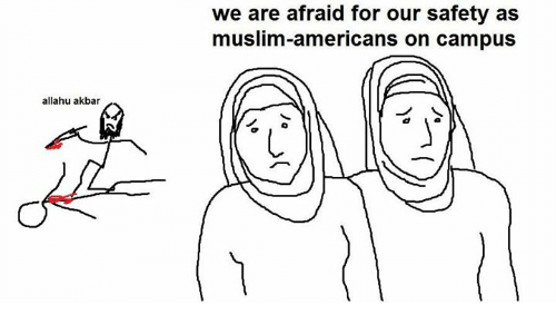 Muslim American: allahu akbar  we are afraid for our safety as  muslim-americans on campus