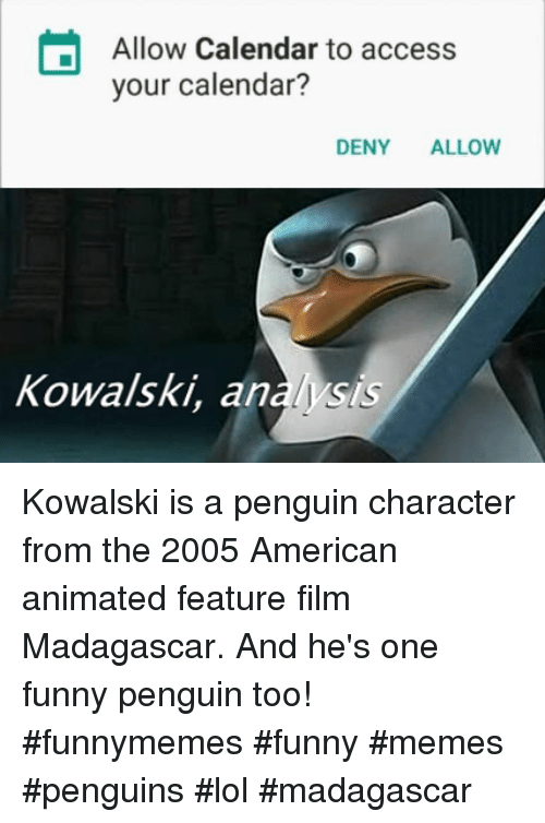 Funny, Lol, and Memes: Allow Calendar to access  your calendar?  DENY ALLOW  Kowalski, analysis Kowalski is a penguin character from the 2005 American animated feature film Madagascar. And he's one funny penguin too! #funnymemes #funny #memes #penguins #lol #madagascar