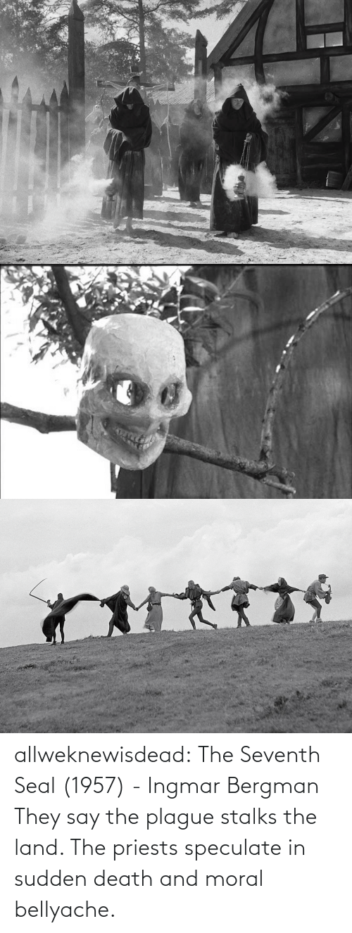 Seal: allweknewisdead:   The Seventh Seal (1957) - Ingmar Bergman   They say the plague stalks the land. The priests speculate in sudden death and moral bellyache.